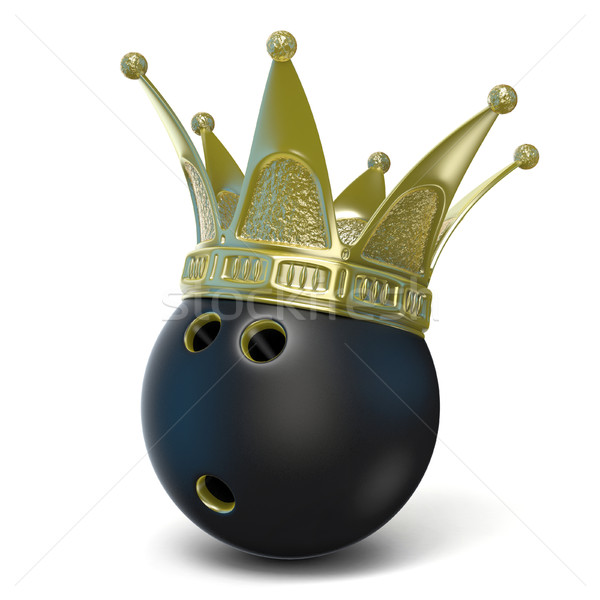 Or couronne noir boule de bowling 3D rendu 3d Photo stock © djmilic