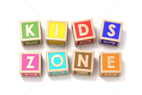 Word KIDS ZONE made of wooden blocks toy 3D Stock photo © djmilic