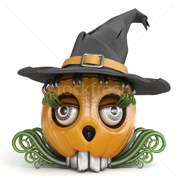 Halloween pumpkin Jack O Lantern lady with witch hat 3D Stock photo © djmilic