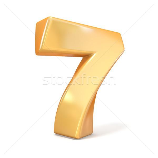 Orange twisted font number SEVEN 7 3D Stock photo © djmilic