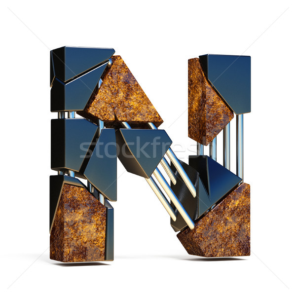 Black brown fracture font LETTER N 3D Stock photo © djmilic
