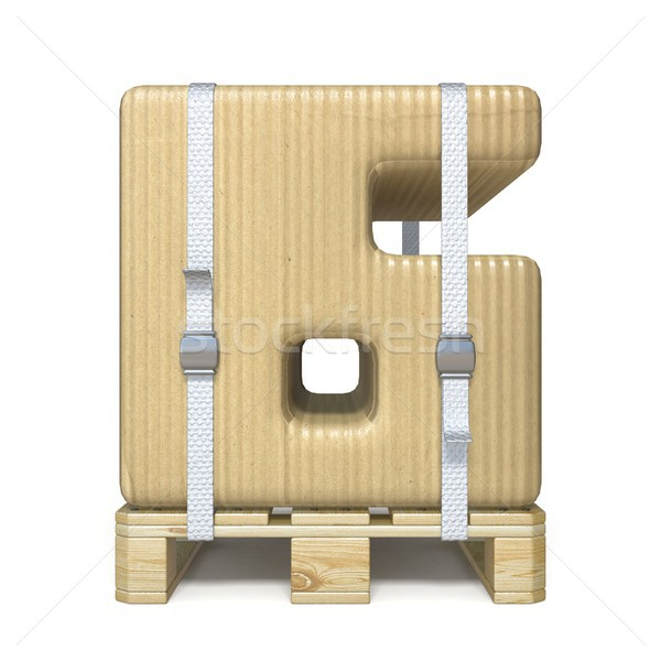 Cardboard box font Number 6 SIX on wooden pallet 3D Stock photo © djmilic