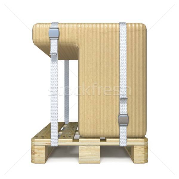 Cardboard box font Number 7 SEVEN on wooden pallet 3D Stock photo © djmilic