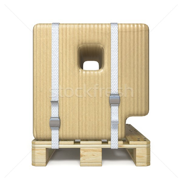 Cardboard box font Letter P on wooden pallet 3D Stock photo © djmilic