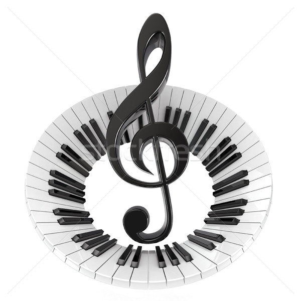 Treble clef in abstract piano keyboard. Symbol of music. 3D Stock photo © djmilic