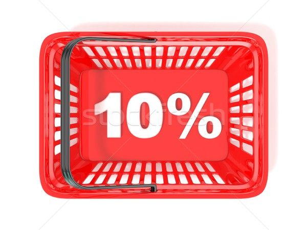 10 percent discount tag in red shopping basket. 3D Stock photo © djmilic