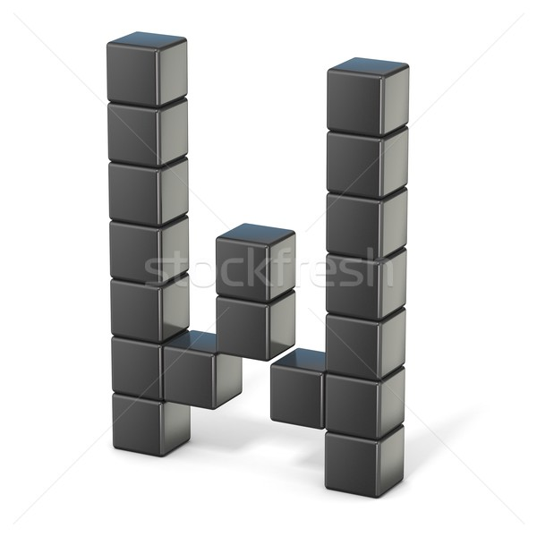 8 bit font. Capital letter W. 3D Stock photo © djmilic