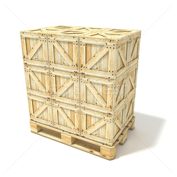 Wooden boxes on euro pallet. 3D Stock photo © djmilic