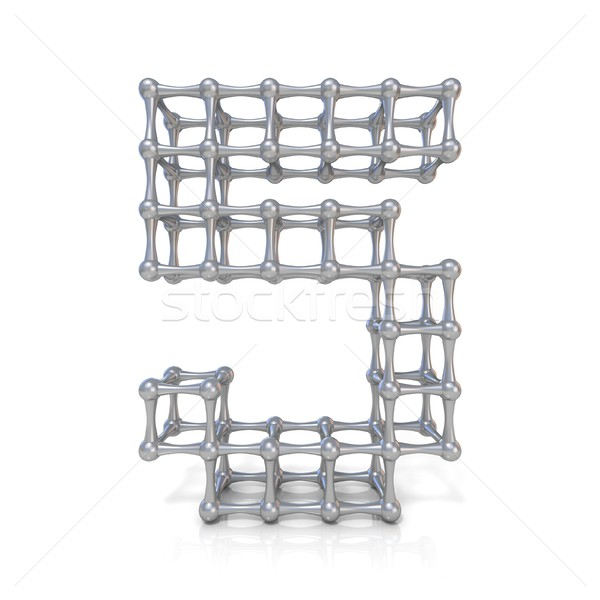 Metal lattice digit number FIVE 5 3D Stock photo © djmilic