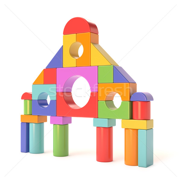 Műanyag építőkockák kicsi kastély elöl 3D Stock fotó © djmilic