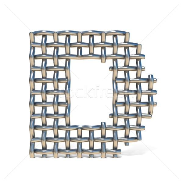 Fém drót háló betűtípus d betű 3D Stock fotó © djmilic