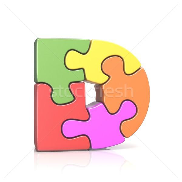 Puzzle fűrész d betű 3D 3d render illusztráció Stock fotó © djmilic