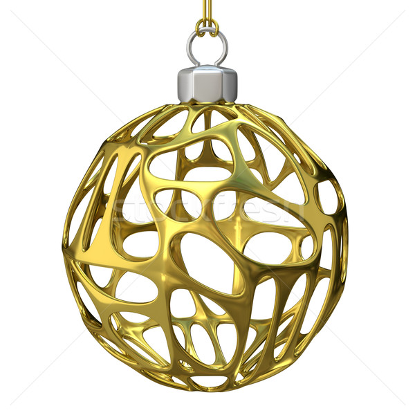 Gold perforated Christmas ball. 3D Stock photo © djmilic