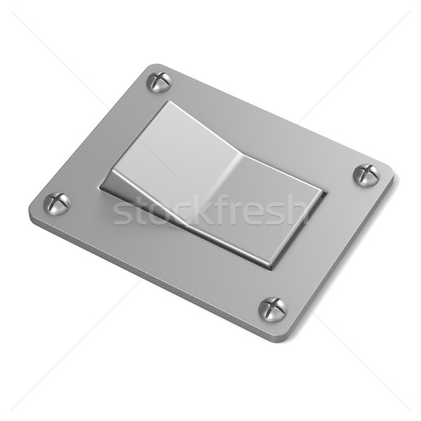 Blank, silver, power switch button. Angled view. 3D Stock photo © djmilic
