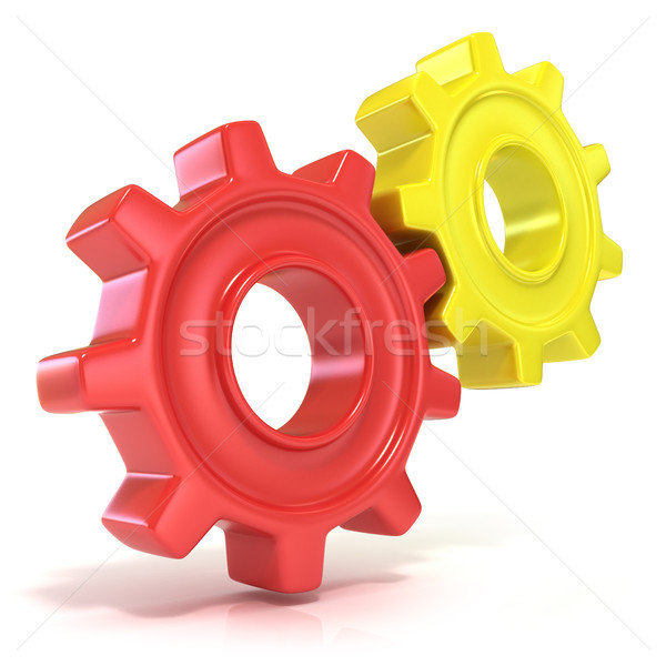 Red and yellow gear wheels, 3D Stock photo © djmilic