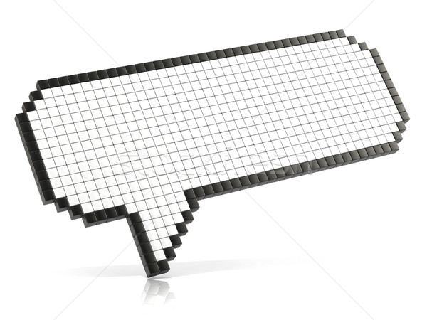 Pixel speech bubble made of glossy cubes. 3D Stock photo © djmilic
