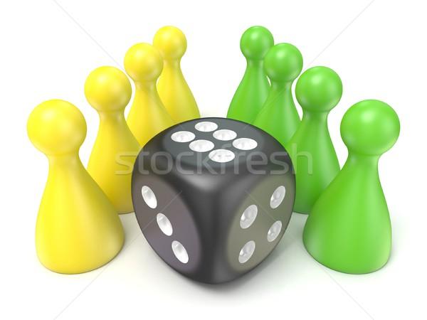 Spel zwarte dobbelstenen 3D 3d render illustratie Stockfoto © djmilic