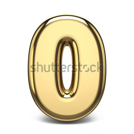 Numerical digits collection, 0 - ZERO. 3D golden sign Stock photo © djmilic