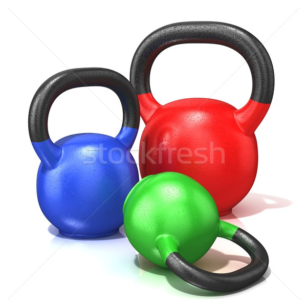 Red, green and blue kettle bells weights isolated on a white bac Stock photo © djmilic