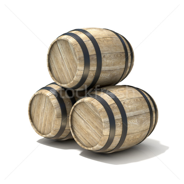 Group of wooden wine barrels. 3D Stock photo © djmilic