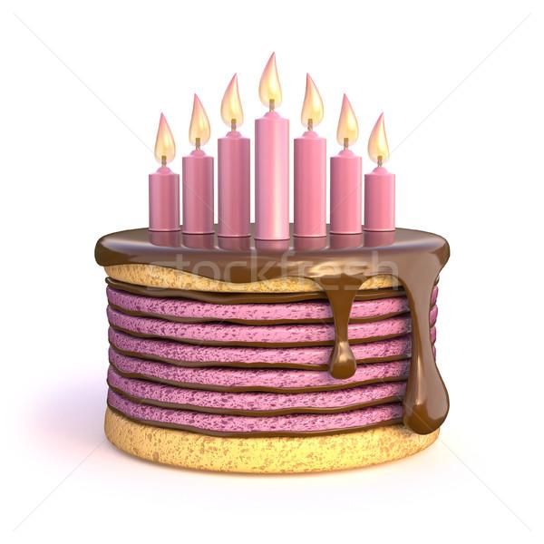 именинный торт семь свечей 3D 3d визуализации иллюстрация Сток-фото © djmilic