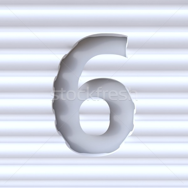 Cut out font in wave surface NUMBER 6 SIX 3D Stock photo © djmilic