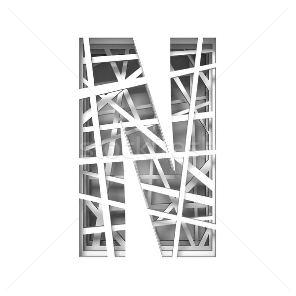 Paper cut out font letter N 3D Stock photo © djmilic