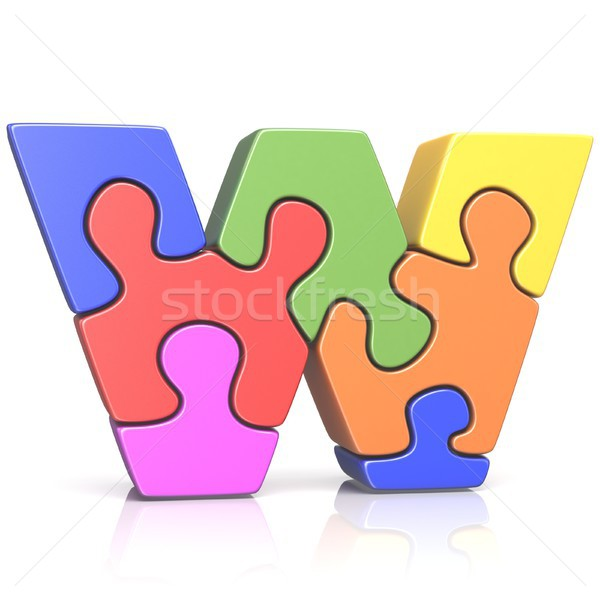 Puzzle list w 3D 3d ilustracja Zdjęcia stock © djmilic