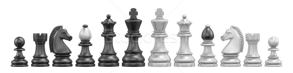 Todo piezas de ajedrez 3D 3d ilustración aislado Foto stock © djmilic