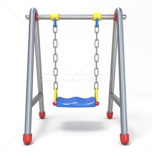 Single children swing front view 3D Stock photo © djmilic