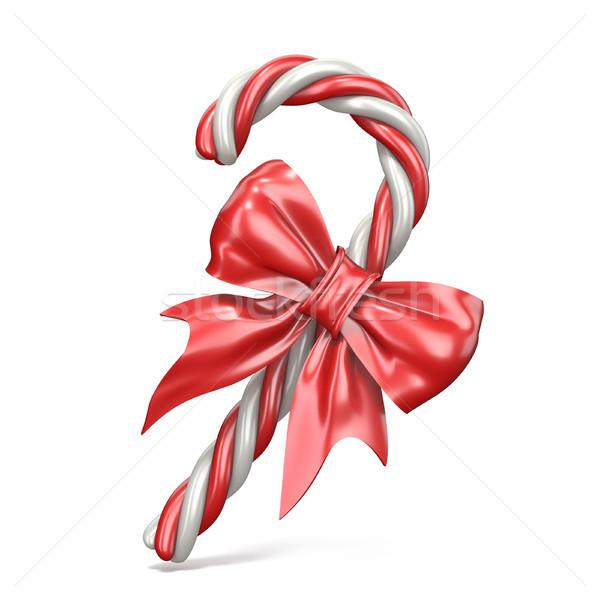 Karácsony dekoráció cukorka sétapálca szalag íj Stock fotó © djmilic