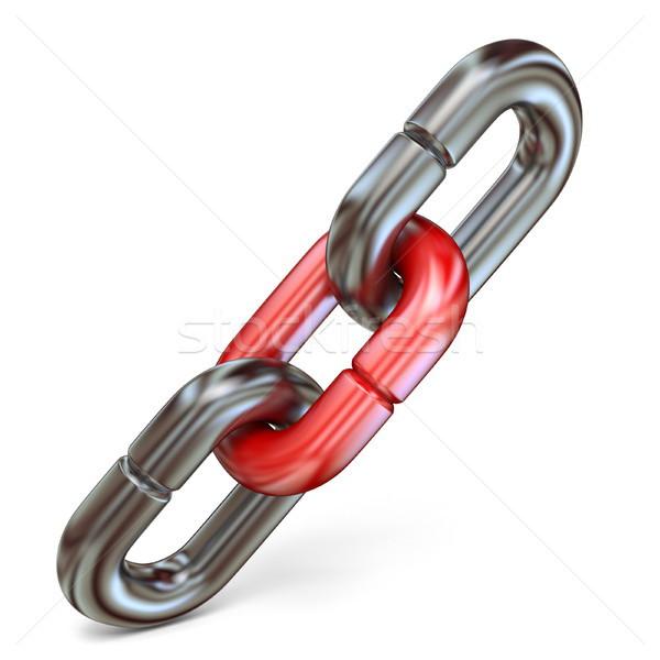 Piros lánc láncszem kapcsolódás kettő fém Stock fotó © djmilic