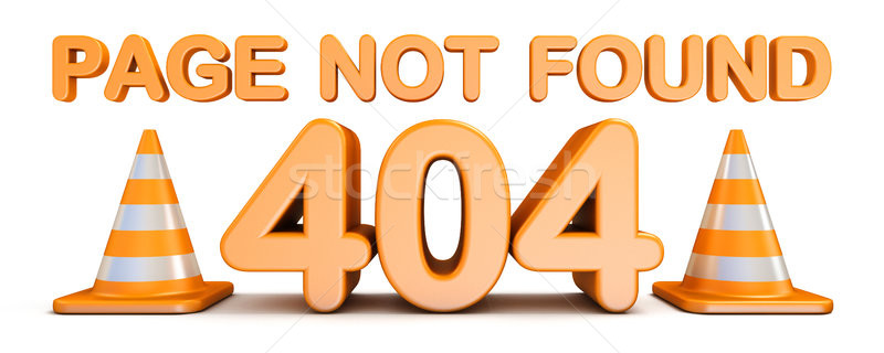 Page not found 404 error and traffic cones 3D Stock photo © djmilic