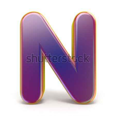 Letter N purple font yellow outlined 3D Stock photo © djmilic