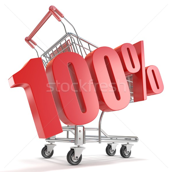 100% - hundred percent discount in front of shopping cart. Sale  Stock photo © djmilic