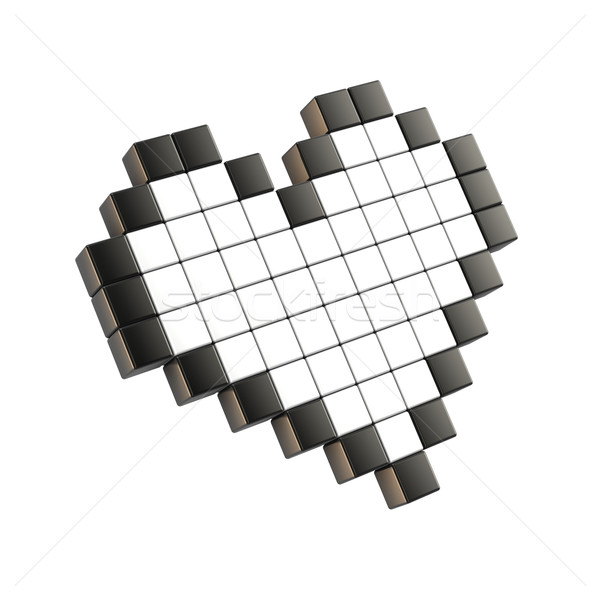 White pixel heart. 3D Stock photo © djmilic