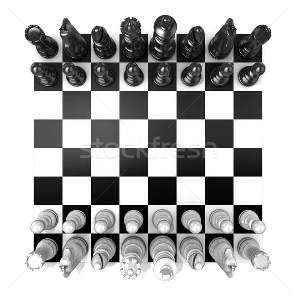 Sakktábla összes sakkfigurák izolált fehér felső Stock fotó © djmilic