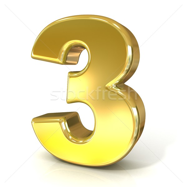 Numerical digits collection, 3 - THREE. 3D golden sign Stock photo © djmilic