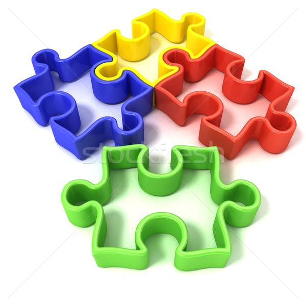 Four colorful outlined jigsaw puzzle pieces. Isolated Stock photo © djmilic