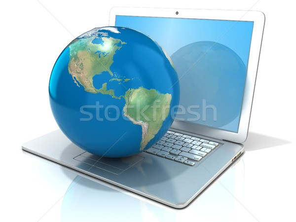 Stock photo: Laptop with illustration of earth globe, America view. 3D