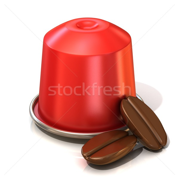 赤 コーヒー カプセル 2 コーヒー豆 3D ストックフォト © djmilic