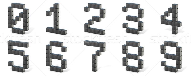 Bit fuente números 3D 3d ilustración Foto stock © djmilic