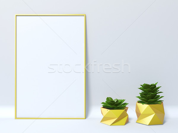 Up jaune cadre photo deux succulent 3D Photo stock © djmilic