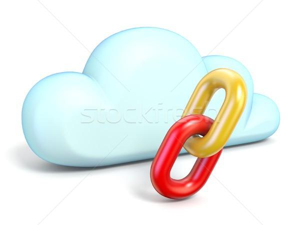 Stock fotó: Felhő · ikon · lánc · linkek · 3D · renderelt · kép · izolált