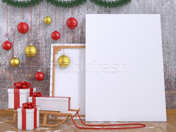 Felfelé poszter fából készült szánkó karácsony labda Stock fotó © djmilic