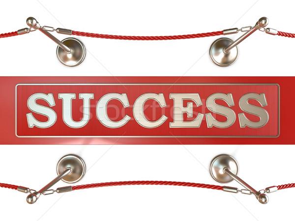 Fluwelen touw rode loper succes teken 3D Stockfoto © djmilic