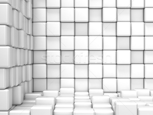 White, cubic, corner space. Raster modern background Stock photo © djmilic