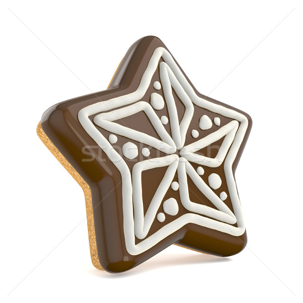 Chocolate Christmas gingerbread star decorated with white lines. Stock photo © djmilic