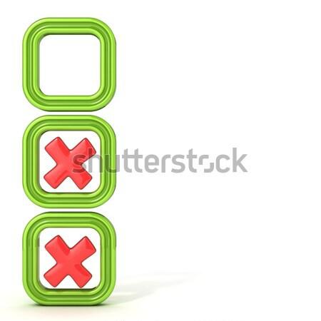 Csekk dobozok helytelen osztályzat izolált fehér Stock fotó © djmilic