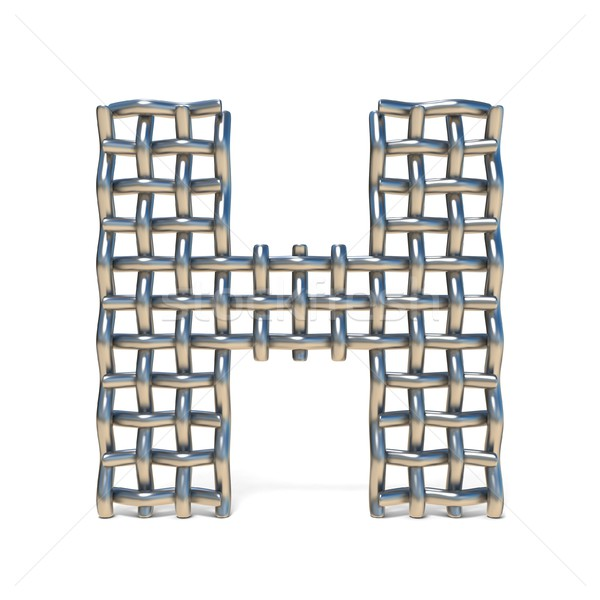 Metal wire mesh font LETTER H 3D Stock photo © djmilic